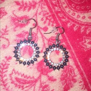 Navy and clear crystal drop earring